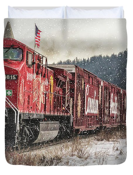The Canadian Pacific Holiday Train Duvet Cover