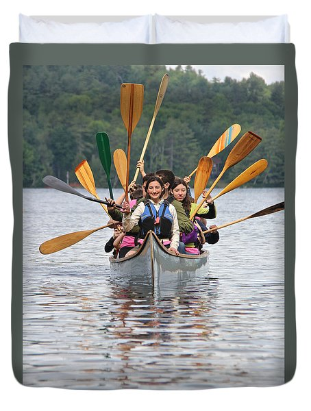 The Canoeists Salute Duvet Cover