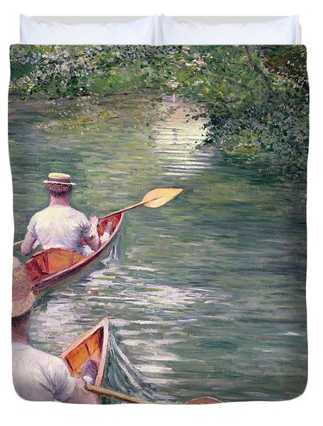 The Canoes Duvet Cover by Gustave Caillebotte