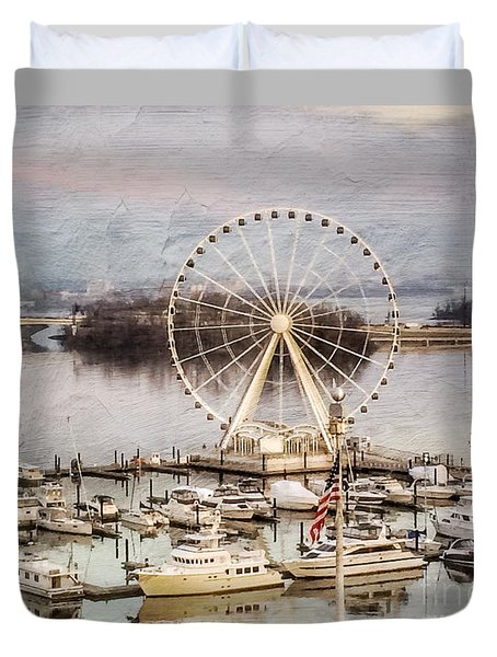The Capital Wheel At National Harbor Duvet Cover