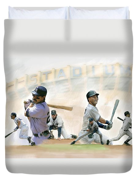 The Captains II Don Mattingly And Derek Jeter Duvet Cover by Iconic Images Art Gallery David Pucciarelli
