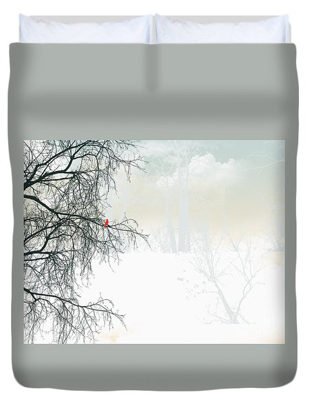 Duvet Cover featuring the digital art The Cardinal by Trilby Cole