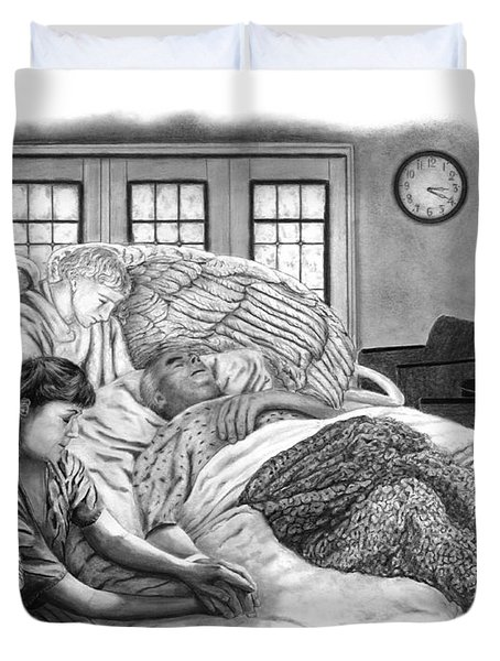 Duvet Cover featuring the drawing The Caregiver by Peter Piatt