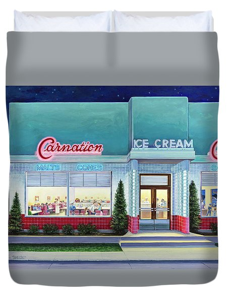 The Carnation Ice Cream Shop Duvet Cover
