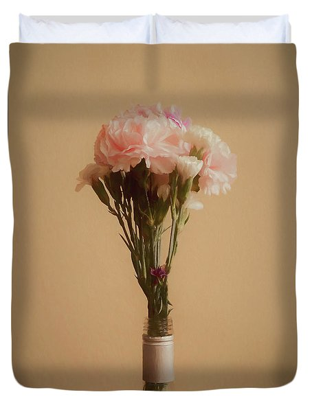 Duvet Cover featuring the digital art The Carnations by Ernie Echols