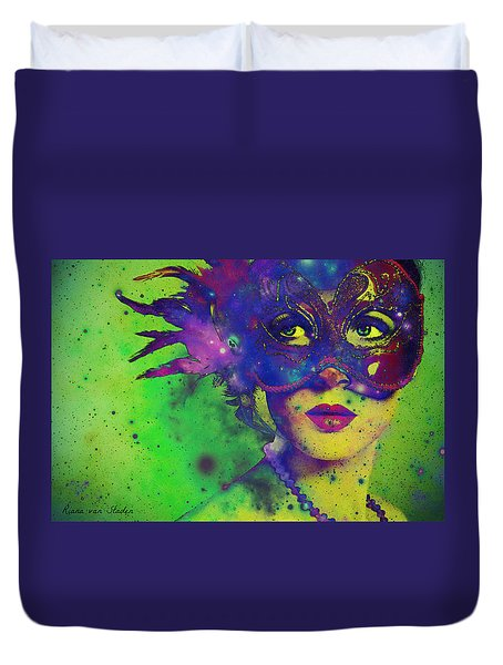 Duvet Cover featuring the digital art The Carnival  by Riana Van Staden
