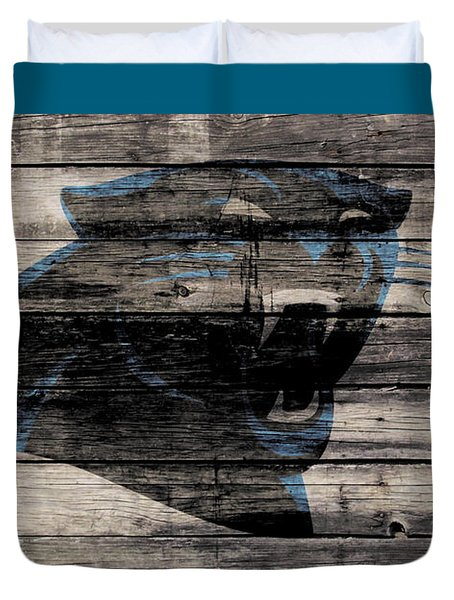 The Carolina Panthers Wood Art Duvet Cover by Brian Reaves