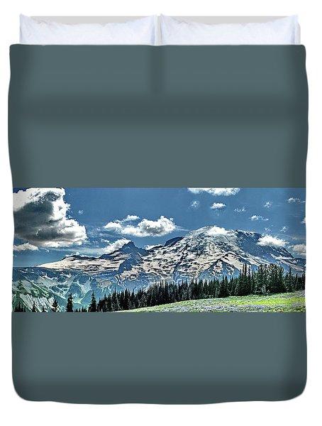 The Cascade Mountains And Mt. Rainier Duvet Cover