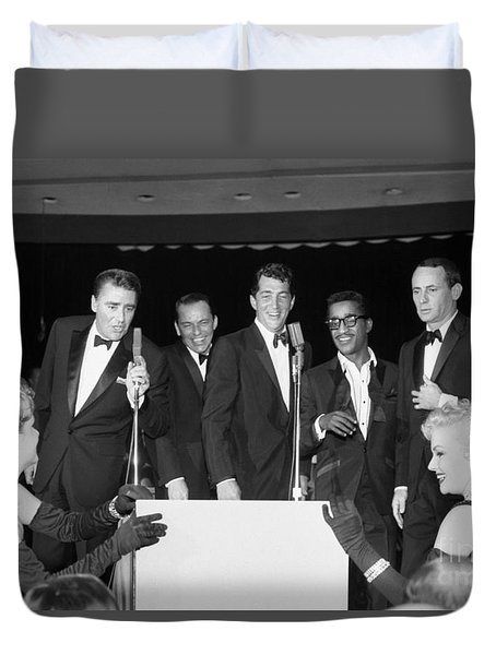 The Cast Of Ocean's 11 And Members Of The Rat Pack. Duvet Cover by The Titanic Project