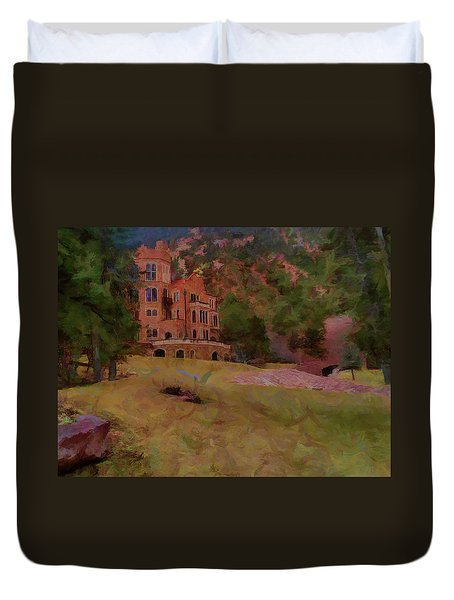 Duvet Cover featuring the digital art The Castle by Ernie Echols