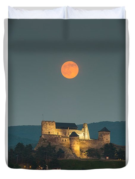 Duvet Cover featuring the photograph The Castle Of Boldogko At Full Moon by Gabor Pozsgai