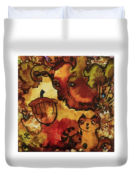 The Cat And The Acorn Duvet Cover by Suzanne Canner