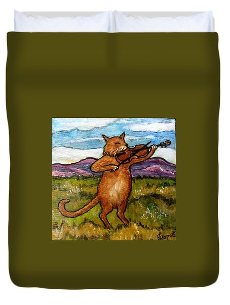 The Cat And The Fiddle Duvet Cover by Frances Gillotti