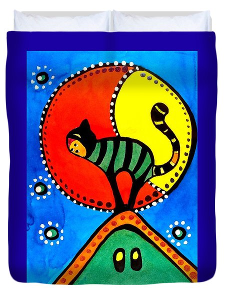 The Cat And The Moon - Cat Art By Dora Hathazi Mendes Duvet Cover by Dora Hathazi Mendes