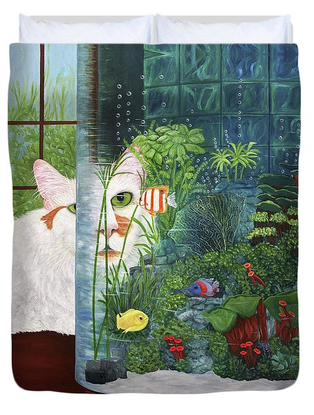 The Cat Aquatic Duvet Cover