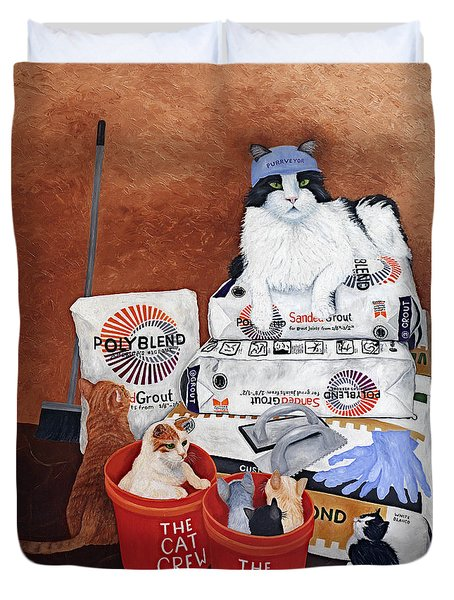 Duvet Cover featuring the painting The Cat Crew by Karen Zuk Rosenblatt