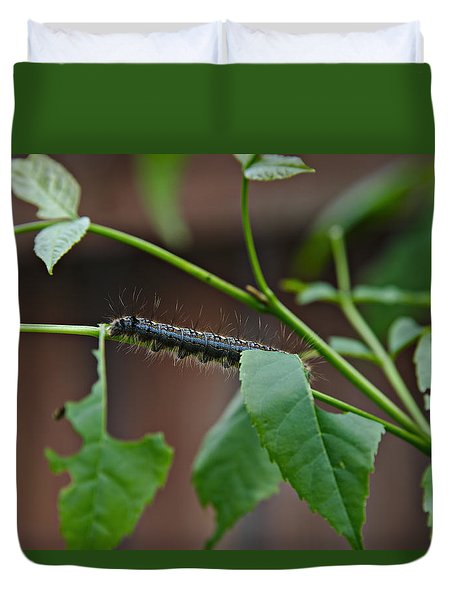 Duvet Cover featuring the photograph The Caterpillar 2 by Cendrine Marrouat
