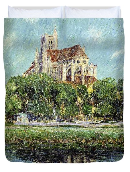 The Cathedral At Auxerre Duvet Cover by Gustave Loiseau