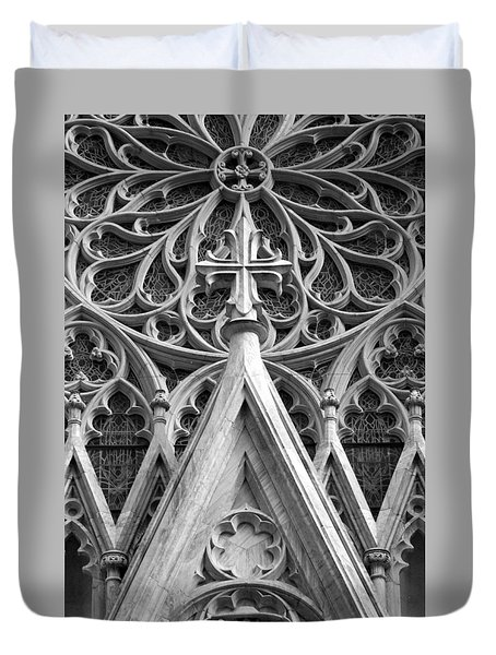 The Cathedral Of St. Patrick Close Up Duvet Cover by Michael Dorn
