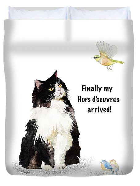 Duvet Cover featuring the painting The Cat's Hors D'oeuvres by Colleen Taylor