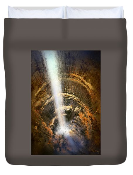 Duvet Cover featuring the painting The Cavern by Andrew King