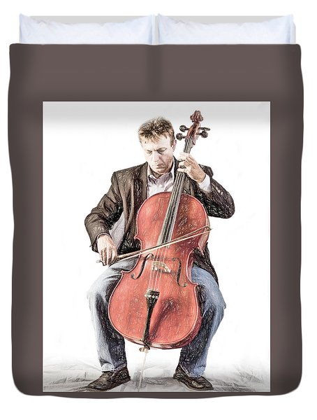Duvet Cover featuring the photograph The Cello Player In Sketch by David and Carol Kelly