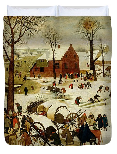 The Census At Bethlehem Duvet Cover by Pieter the Younger Brueghel