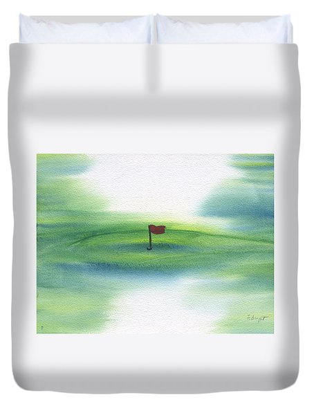 Duvet Cover featuring the painting The Challenge  by Frank Bright