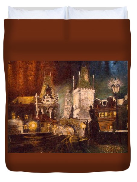 The Charles Bridge In Prague At Night Duvet Cover