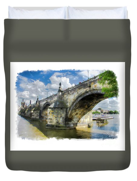 Duvet Cover featuring the photograph The Charles Bridge - Prague by Tom Cameron