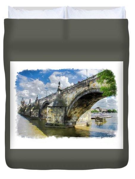 The Charles Bridge - Prague Duvet Cover by Tom Cameron