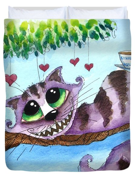 The Cheshire Cat - Tea Anyone Duvet Cover by Lucia Stewart