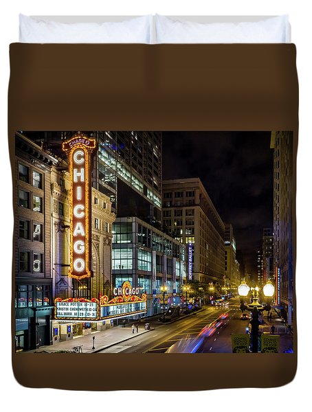 Illinois - The Chicago Theater Duvet Cover