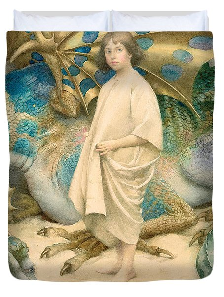 The Child In The World Duvet Cover by Thomas Cooper Gotch