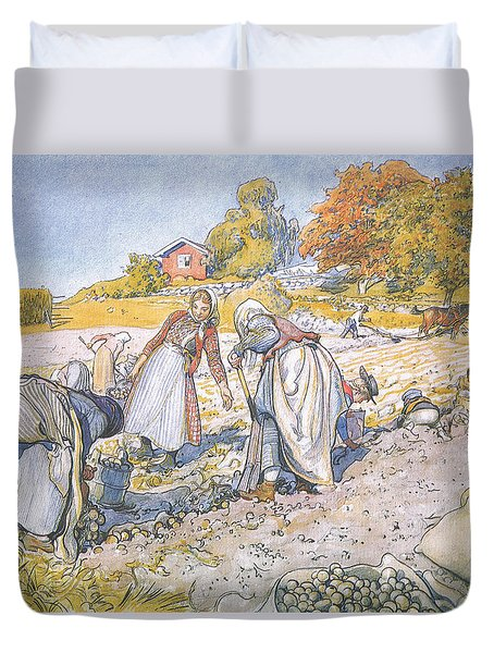The Children Filled The Buckets And Baskets With Potatoes Duvet Cover by Carl Larsson