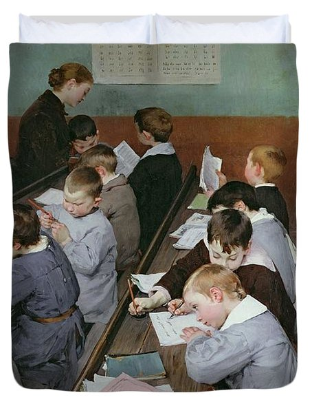 The Children's Class Duvet Cover by Henri Jules Jean Geoffroy
