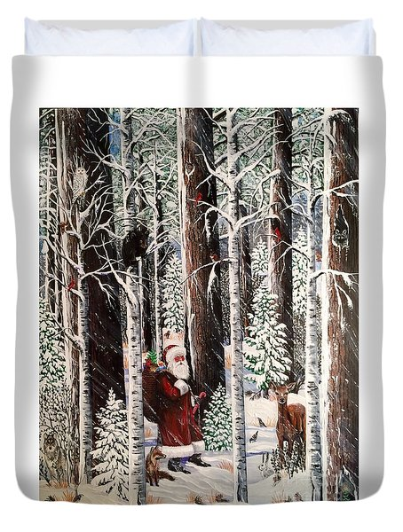 The Christmas Forest Visitor Duvet Cover