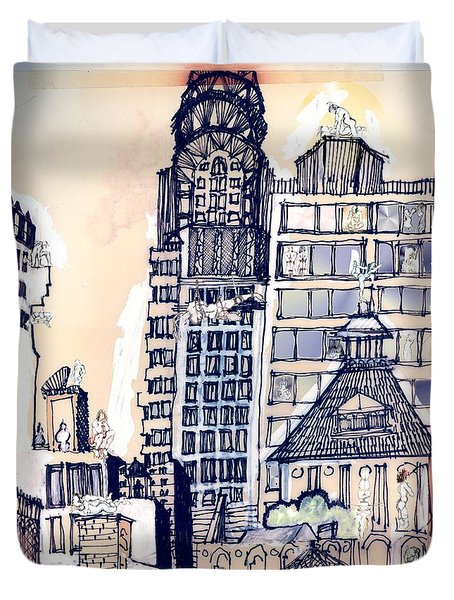 Duvet Cover featuring the painting The Chrysler Building An Erotic Fantasy by Carolyn Weltman