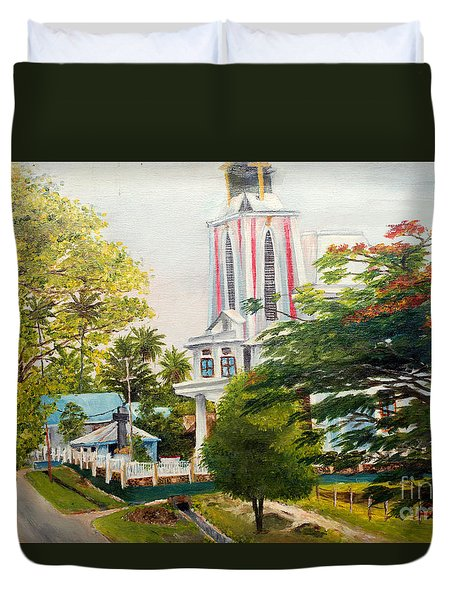 The Church In My Village Duvet Cover