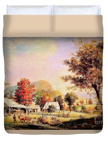 Duvet Cover featuring the painting The Cider Press - After Durrie by Lianne Schneider