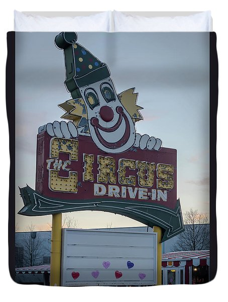 Duvet Cover featuring the photograph The Circus Drive In Sign Wall Township Nj by Terry DeLuco