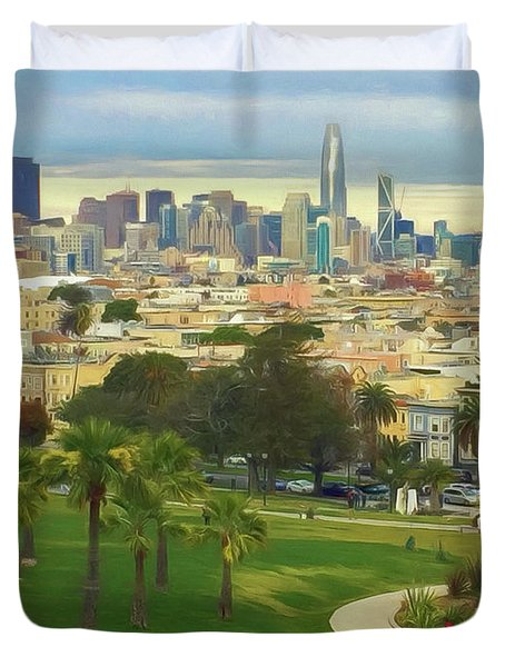 The City From Dolores Park Duvet Cover