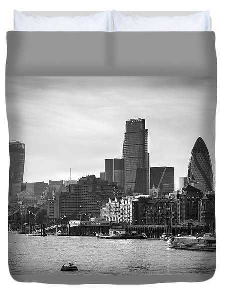 The City In Mono Duvet Cover