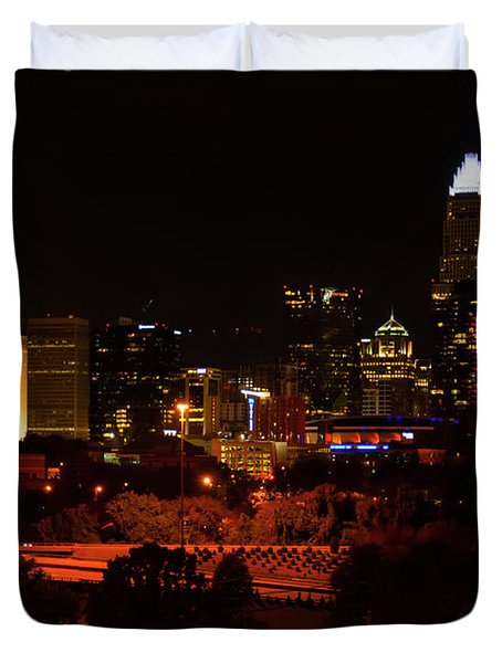 Duvet Cover featuring the digital art The City Of Charlotte Nc At Night by Chris Flees