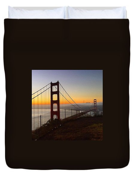 Bridge And Fog And City Duvet Cover