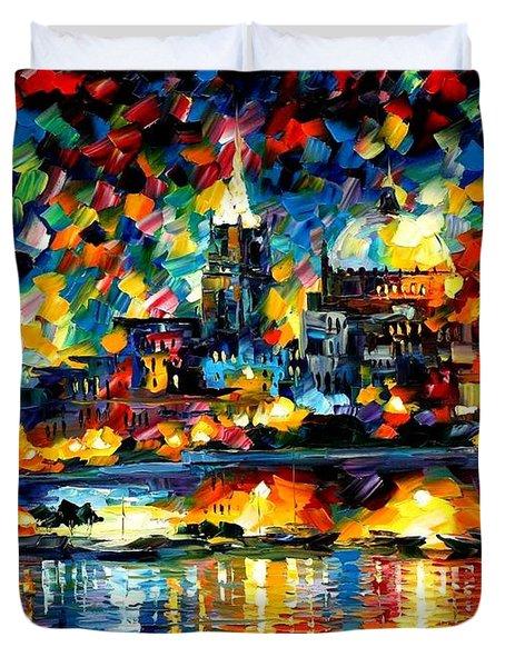 The City Of Valetta - Malta Duvet Cover by Leonid Afremov