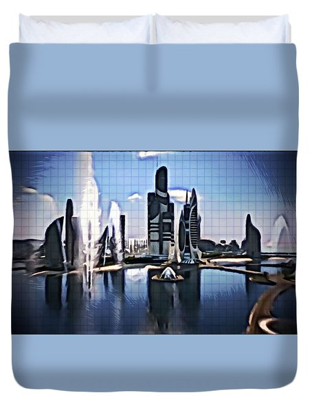 Duvet Cover featuring the digital art The City That Isn't by Mario Carini