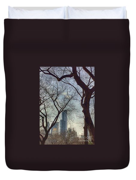 The City Through The Trees Duvet Cover
