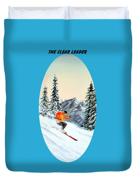 The Clear Leader Skiing Duvet Cover by Bill Holkham