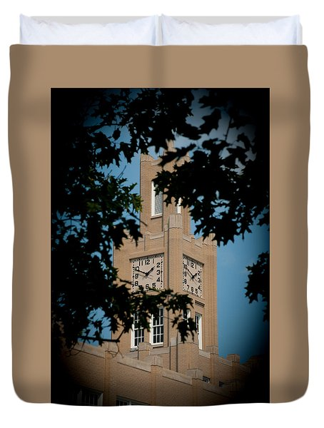 Duvet Cover featuring the photograph The Clock Tower by Mark Dodd